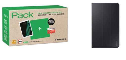 Pack Fnac Tablette Samsung Galaxy Tab A6 10.1 32 Go WiFi Blanc + Carte Micro SD Evo Plus 64 Go + Etui à rabat