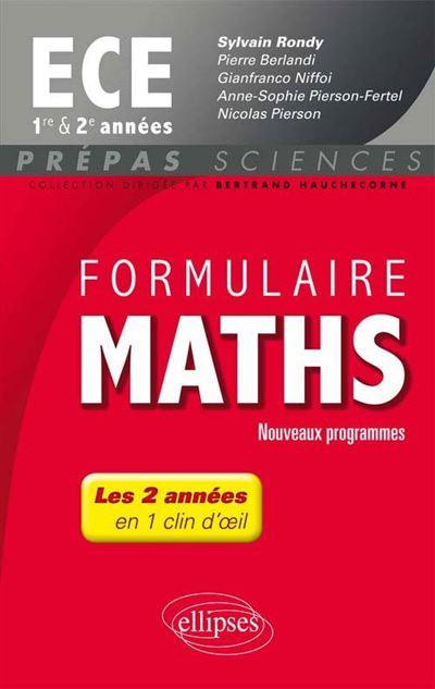Formulaire Maths ECE 1re et 2e années - nouveaux programmes 2013-2014