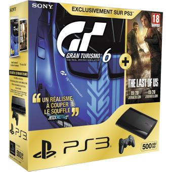 console sony ps3 ultra slim 500 go gran turismo 6 edition sp ciale the last of us console. Black Bedroom Furniture Sets. Home Design Ideas