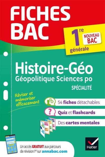 Fiches bac Histoire-géographie, Géopolitique, Sciences politiques 1re (HGGSP) - Nouveau programme Première générale - 9782401060975 - 4,49 €
