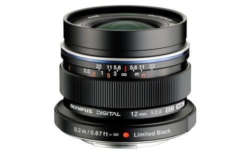 Olympus M. Zuiko Digital ED 12 mm f / 2.0 zwarte hybride lens