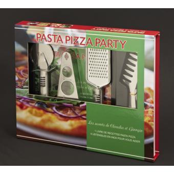 Coffret pizza et pasta coffret avec 1 couteau et 1 roulette pizza 1 pince et 1 mesureur - Coffret ustensile cuisine ...