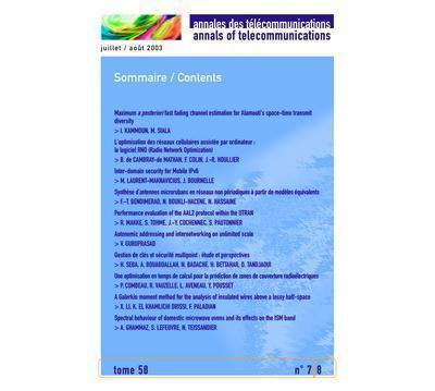 Annales des telecommunications tome 58 n. 7-8 juillet/aout 2