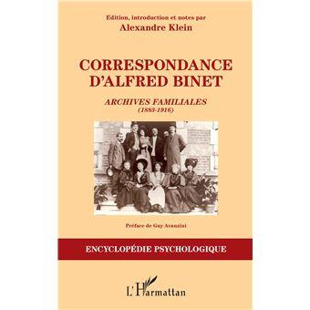 Correspondance d'alfred binet archives familiales 1883-1916