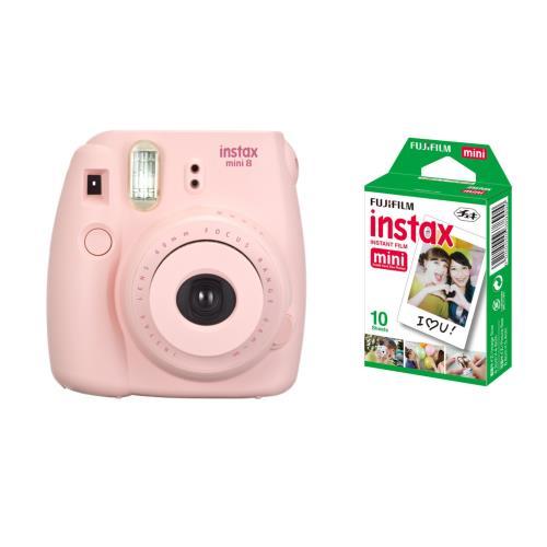 L'appareil photo instantané Fujifilm Instax mini 8 permet d'obtenir des tirages sur papier argentique au format carte de visite quelques instants après la prise de vue + Fujifilm Instax Mini Pack 1x 10 Poses