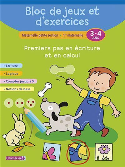 Bloc de jeux et d'exercices - premiers pas en ecriture (3-4)