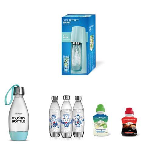 Megapack Sodastream Machine à soda Spirit Bleu Pastel avec un lot de 3 bouteilles UEFA Argent et 1 bouteille style 0,5L et Concentré Saveur Cola et Limonade 500 ml
