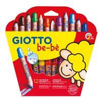 Etui de 12 crayons de couleur Giotto be-bè maxi bois + taille crayons