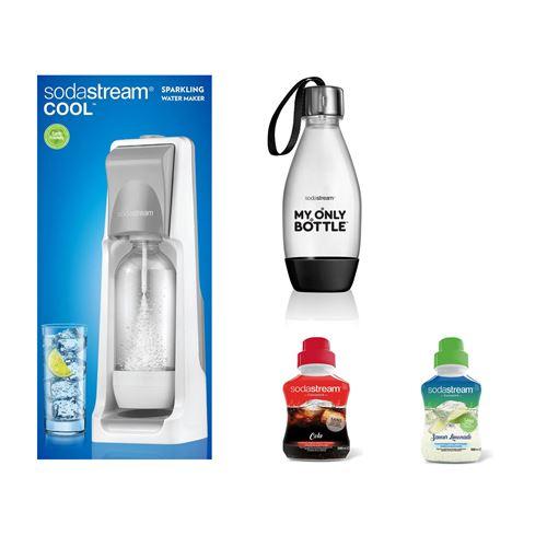 Pack Sodastream Machine à soda Cool Titan Blanc avec Bouteille style Noir 0,5L et Concentré Saveur Cola et Limonade 500 ml