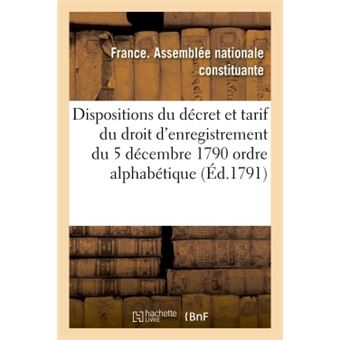 Dispositions du decret et tarif du droit d'enregistrement du