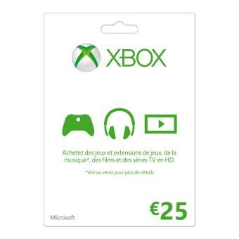 Carte Xbox 25.Carte Cadeau Microsoft Xbox 25