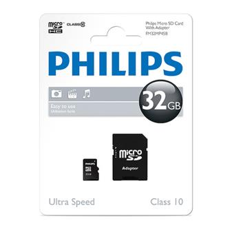 carte m moire micro sd philips class 10 32 go carte. Black Bedroom Furniture Sets. Home Design Ideas