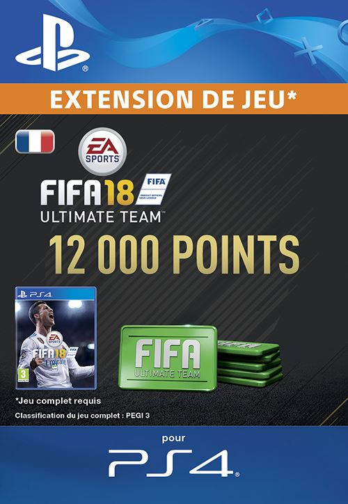 FIFA 18 Ultimate Team 12000 Points PS4 code de téléchargement