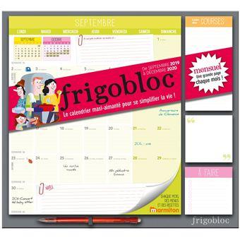 Calendrier Course A Pied 2020.Frigobloc 2020 Mensuel Calendrier D Organisation Familiale Par Mois De Sept 2019 A Decembre 2020