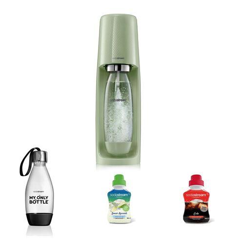 Pack Sodastream Machine à soda Spirit Vert avec Bouteille style Noir 0,5L et Concentrés Saveur Cola et Limonade 500 ml