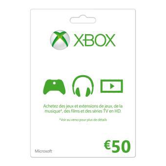 Carte cadeau Microsoft Xbox 50€