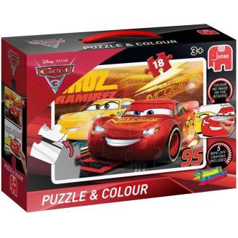 Disney Pixar Cars 3 - Puzzel + kleurprent op achterkant