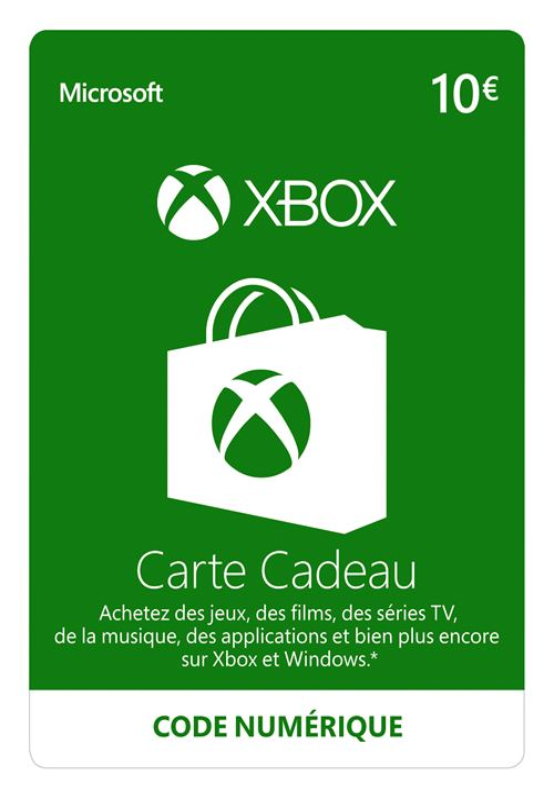 Code de téléchargement Xbox Live e-carte cadeau monnaie virtuelle 10