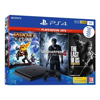 Pack console 1to Slim zwart + The last of us + Uncharted 4 Hits+ God of War