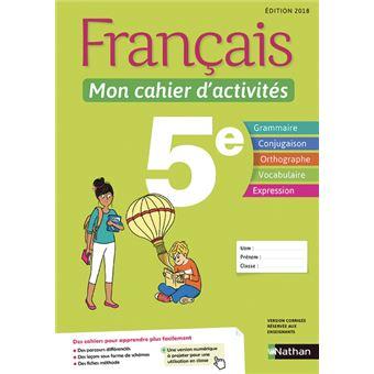 Francais 5eme Mon Cahier D Activites Workbook Cycle 4