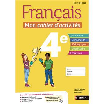 Francais 4eme Mon Cahier D Activites Workbook Cycle 4