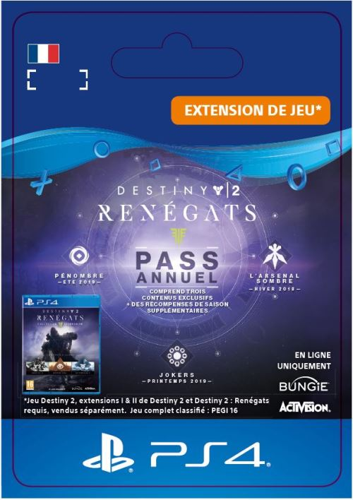 Code de téléchargement Destiny 2 Renégats PS4 Forsaken Annual Pass Extension