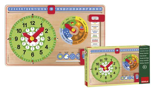 Horloge calendrier anglais petite taille Goula