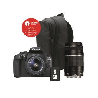 reflex canon eos 1300d + objectif 18-55 iii + 75-300 iii + sac à dos + carte sd 8go 8714574643939 UPC Canon Pack Eos 1300D 18 55 Is 75 300 Bag Carte 8G