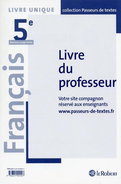 Français 5ème Professeur - Passeurs de textes - 2016
