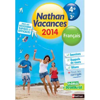 Nathan Vacances Francais De La 4eme Vers La 3eme