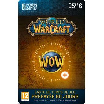 Code De Telechargement Carte Cadeau Blizzard Entertainment World Of Warcraft 60 Jours De Temps De Jeu Code De Telechargement Top Prix Fnac