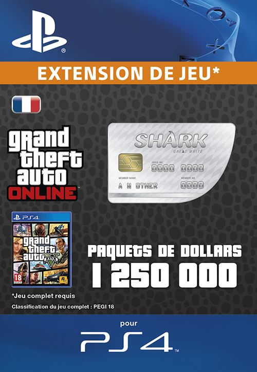 GTA V : Great White Shark Cash Card PS4 code de téléchargement