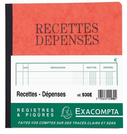 Carnet Recettes Dépenses Exacompta