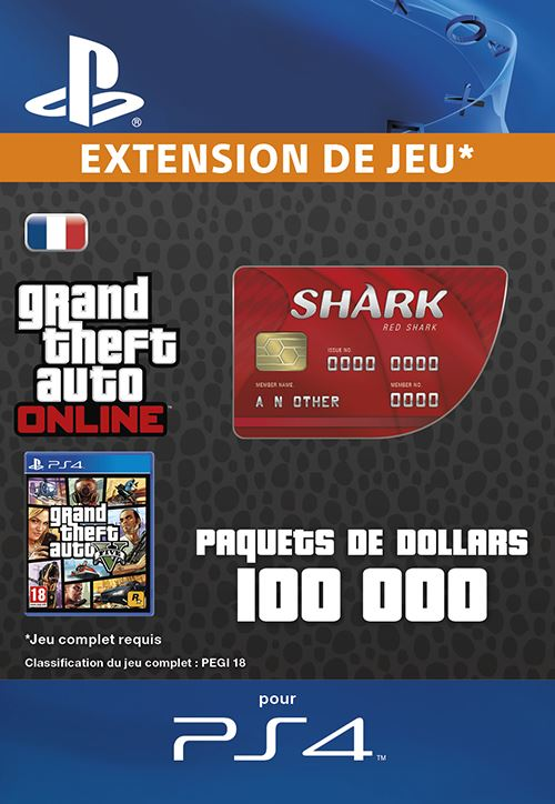 Code de téléchargement GTA V Red Shark Cash Card PS4