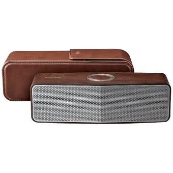 enceinte portable lg np7557 bois avec pochette en cuir. Black Bedroom Furniture Sets. Home Design Ideas