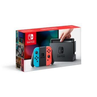 Console Nintendo Switch noire avec manettes Joy-Con droite rouge néon et Joy-Con gauche bleue néon