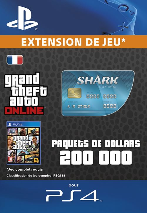 Code de téléchargement GTA V Tiger Shark Cash Card PS4
