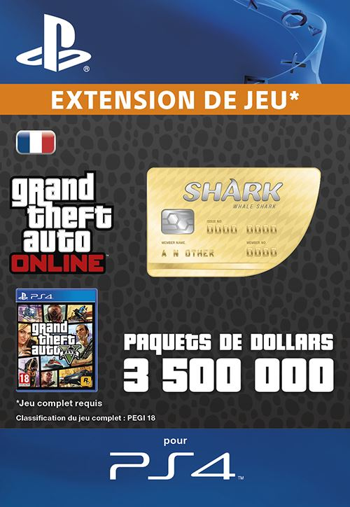Code de téléchargement GTA V Whale Shark Cash Card PS4