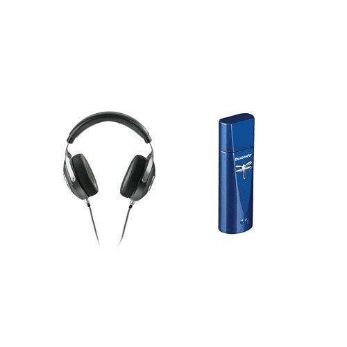 Casque hi-fi fermé circum-aural Focal Elegia Noir + DAC USB + préampli + ampli casque Audioquest Dragonfly Bleu cobalt