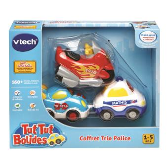coffret trio police tut tut bolides vtech inclus moto voiture de course et voiture de police. Black Bedroom Furniture Sets. Home Design Ideas