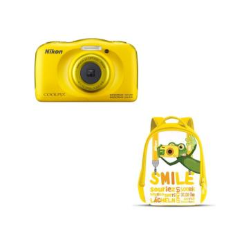 Compacte Nikon Coolpix W100 geel + tas