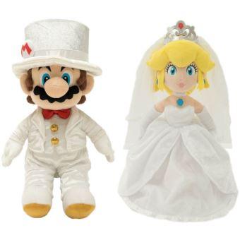 Peluche Odyssey Super Mario et Peach Wedding 40 cm