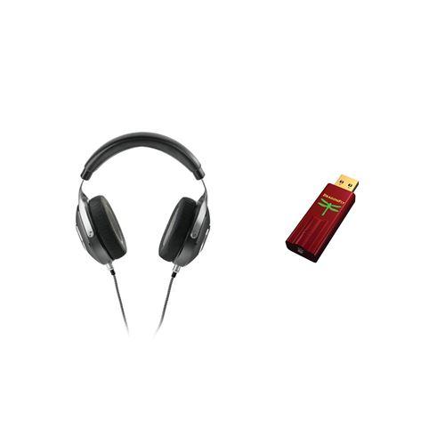 Casque hi-fi fermé circum-aural Focal Elegia Noir + DAC USB + préampli + ampli casque Audioquest Dragonfly Rouge