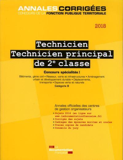 Technicien principal de 2ème classe 2018, Concours spécialités I