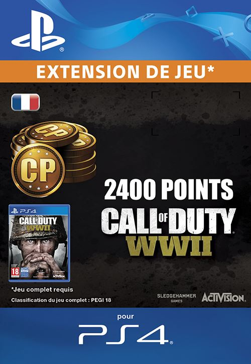 Call Of Duty WWII 2,400 Points PS4 code de téléchargement