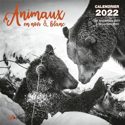 Calendrier Animaux 2022 Calendrier Animaux en noir et blanc 2022   broché   Collectif