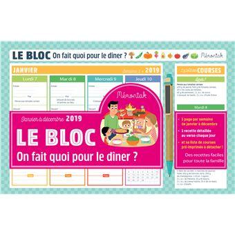 Le bloc On fait quoi pour le dîner ? Mémoniak 2019