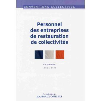 Personnel des entreprises de restauration de collectivit s for Convention restauration collective