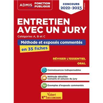 Entretien avec le jury, Méthode et exposés commentés, L'essentiel en 34 fiches, Catégories A et B
