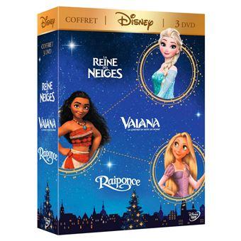 Disney PrincessesCoffret Vaiana La Reine des Neiges Raiponce DVD